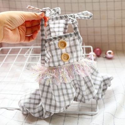 Cute Straps Grid Dog Jumpsuit Covered Belly | Pet Cloth For Small Dog_1