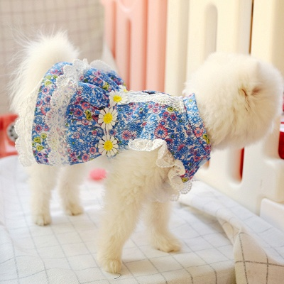 Grid Short Sleeve Girl Dog Skirt With Collar For Small Puppy_3