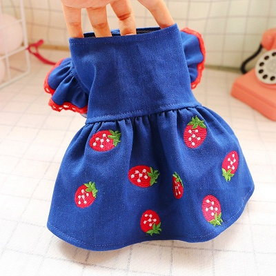 Dark Navy Bubble Sleeve Small Dog Skirts With Pattern_6