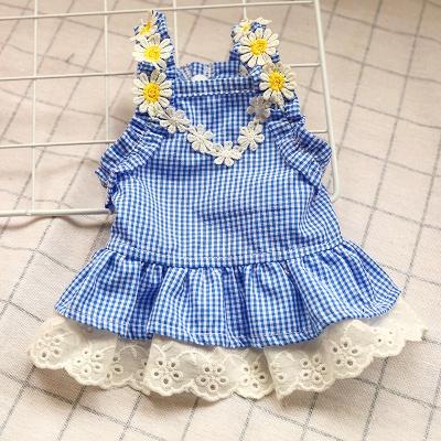 Summer Blue Sleeveless Grid Lace Dog Skirts_4