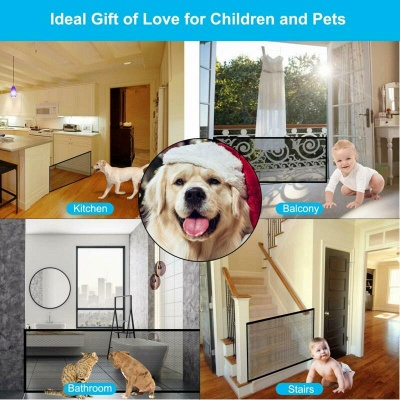 Magic Pets Dog Cat Baby Safety Gate Mesh Fence Portable Guard Net Stairs Doors_6