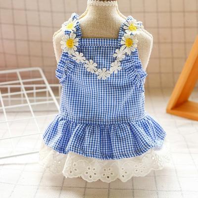 Summer Blue Sleeveless Grid Lace Dog Skirts_1