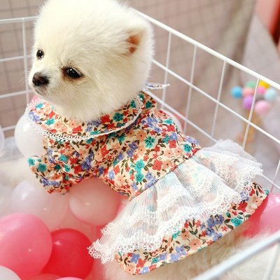 Short Sleeeve Floral Ruffles Pet Skirt With Collars