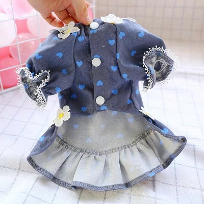 Print Short Sleeve Lace Girl Dog Skirt For Small Pet_3