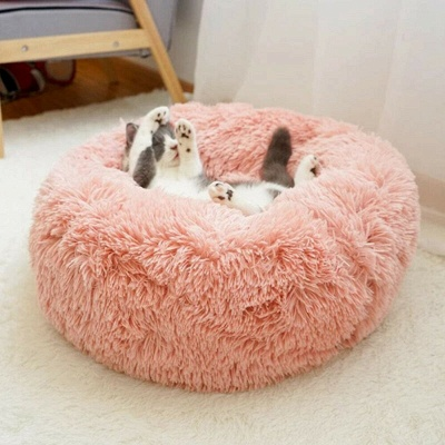 Donut Plush Pet Dog Cat Bed Fluffy Soft Warm Calming Bed_16