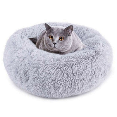 Donut Plush Pet Dog Cat Bed Fluffy Soft Warm Calming Bed_15