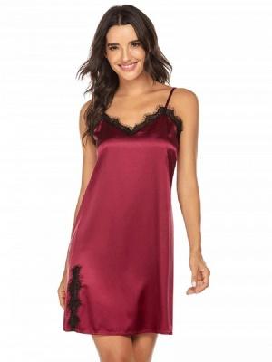 Burgundy Imitate Silk Pajamas Dressing Gown