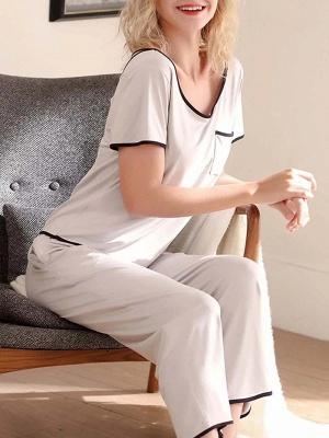 Comfortable Soft Short Sleeves Pajamas Set_3