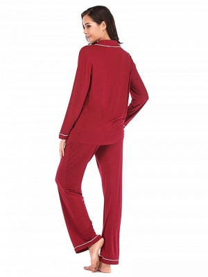 Women's Sleepwear Sets Imitate Silk Pajamas_2