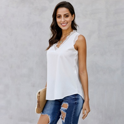 Women's Fashion Sleeveless Lace Chiffon Top_3