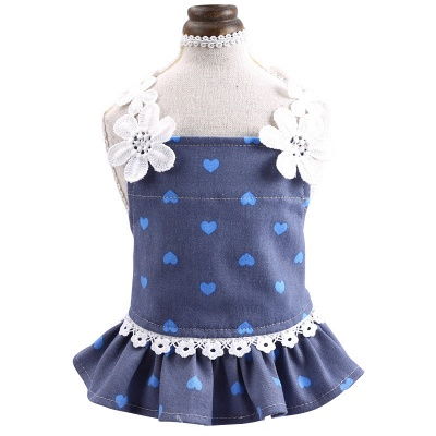 Cute Summer Sleeveless Print  Flowers Lace Small Ruffles Dog Skirts_4