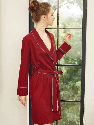 Lace Sexy Imitation Silk Belt Bathrobe Nightgown_3