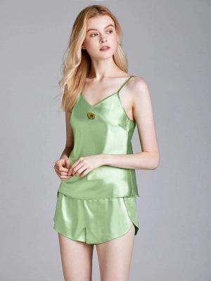 Imitate Silk Sleepwear Pajamas Set_4