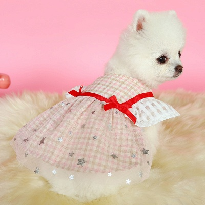 Short Sleeve Grid Bow  Pets Cloth_2