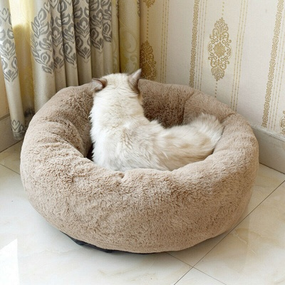 Donut Plush Pet Dog Cat Bed Fluffy Soft Warm Calming Bed_14