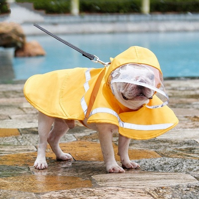 Blue Waterproof Hoody Reflective strip Dog Raincoat | Jacket Pet Clothes_3
