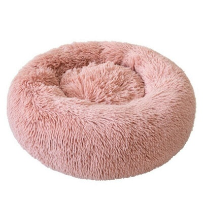 Donut Plush Pet Dog Cat Bed Fluffy Soft Warm Calming Bed_1