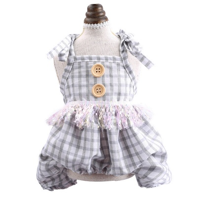 Cute Straps Grid Dog Jumpsuit Covered Belly | Pet Cloth For Small Dog_3