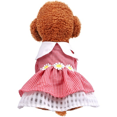 Pets Short Sleeve Grid Dog Skirt With Collar For Small Pets_2
