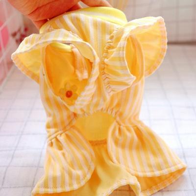 Yellow Stripe Short Sleeve Girl Dog Skirt With Collar_3