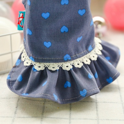 Cute Summer Sleeveless Print  Flowers Lace Small Ruffles Dog Skirts_6