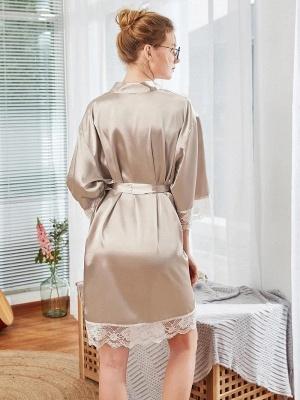 Sexy Imitation Silk Belt Bathrobe Nightgown_2