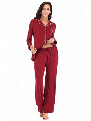 Women's Sleepwear Sets Imitate Silk Pajamas_3
