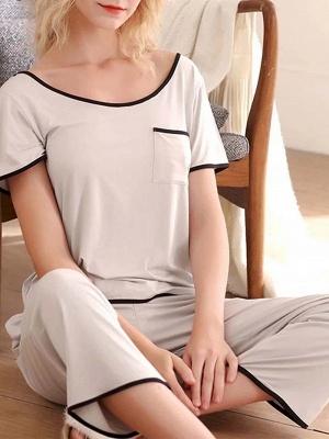 Comfortable Soft Short Sleeves Pajamas Set_4