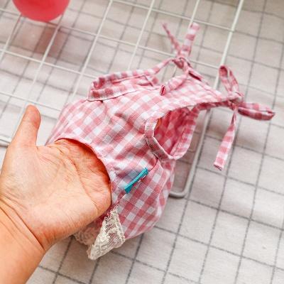 Pink Straps Grid Lace Pets Cloth_3
