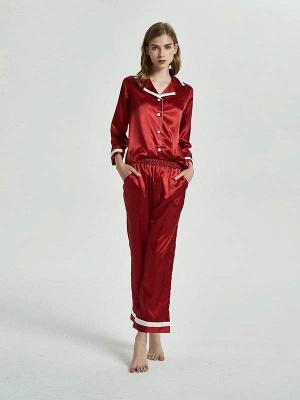 Women Imitated Silk Pajamas Sleepwear_3