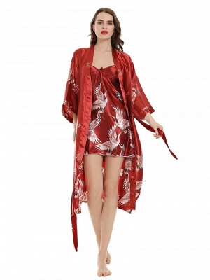 Women's Sexy Imitate Silk Pajamas Dressing Gown_4