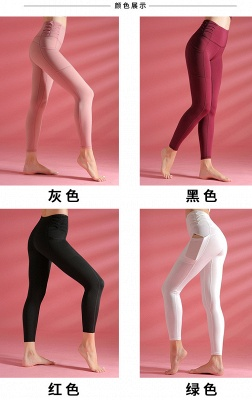 Women yoga pants High Waist Sports Gym Wear Leggings Elastic Fitness Lady Overall Full Tights Workout_9