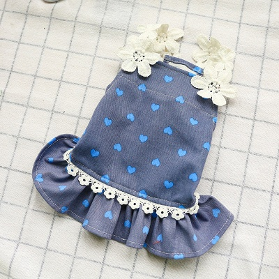 Cute Summer Sleeveless Print  Flowers Lace Small Ruffles Dog Skirts_5