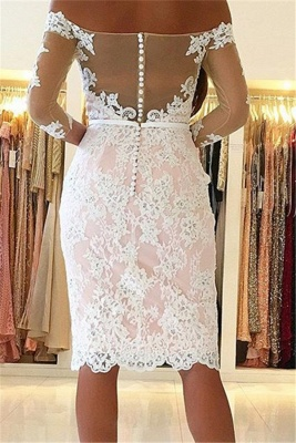 Off-the-Shoulder Sheath Long-Sleeves Pink Sexy Appliques Homecoming Dress_3