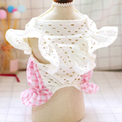 Dog Summer Pink Checked Bow Bud Hollowed-out Skirt Pet Costume_2