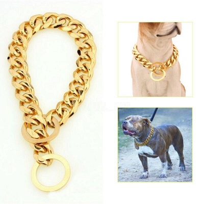 Stainless Steel Chain Dog Collar Big Gold Plated Curb Training Walking Slip Link_2