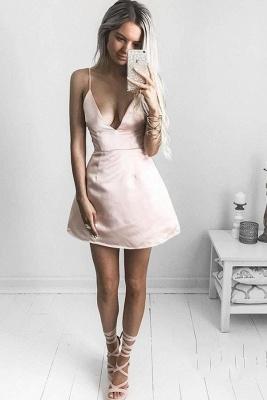 Sexy V-neck Homecoming Dresses   Spaghetti-Straps Short Cocktail Dresses_2