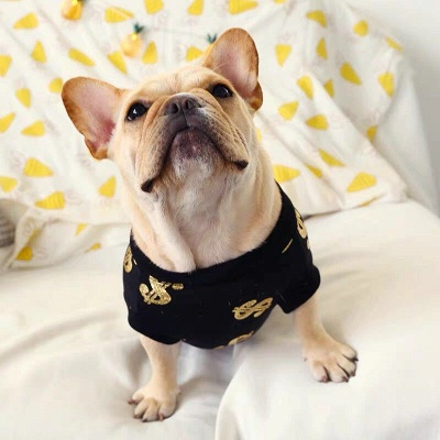 Black Print Jewel Short Sleeve Dog T-shirt_2
