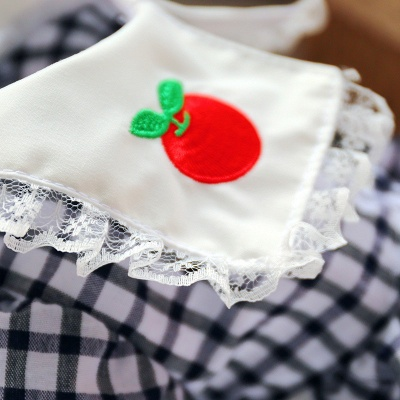 Lovely Grid Short Sleeve Puppy Skirt | Pet Cloth With Flower_3