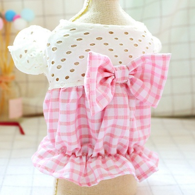 Dog Summer Pink Checked Bow Bud Hollowed-out Skirt Pet Costume_5