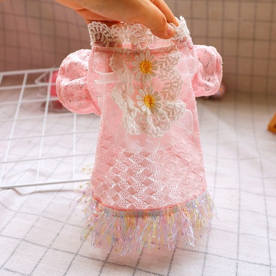 New Arrive Pet Dog Lace Flower Princess Dress | Cat Puppy Tulle Skirt Clothes_3