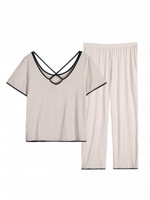 Comfortable Soft Short Sleeves Pajamas Set_2