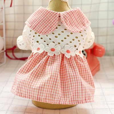 Adorable Pink Grid Short Sleeve Pet Skirt Covered Belly_4