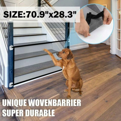 Magic Pets Dog Cat Baby Safety Gate Mesh Fence Portable Guard Net Stairs Doors_2
