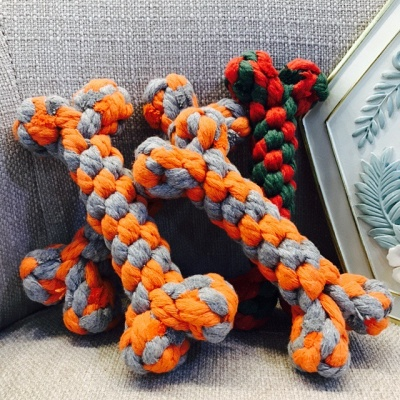 Colorful Durable Braided Bone Rope Pets Dog Cotton Chews Knot Toys