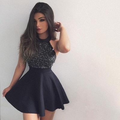 Beading Sleeveless A-line Halter Short Cute Homecoming Dress_3