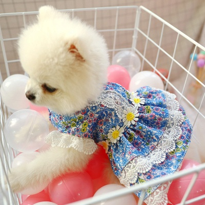 Grid Short Sleeve Girl Dog Skirt With Collar For Small Puppy_4