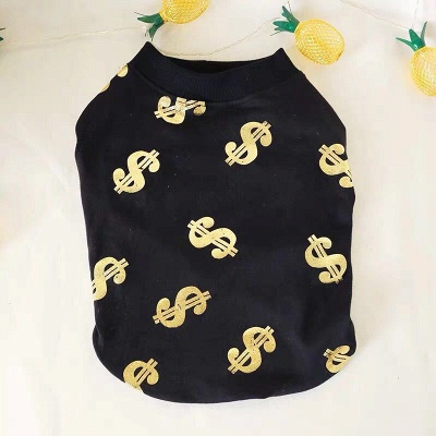Black Print Jewel Short Sleeve Dog T-shirt_4
