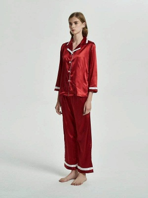 Women Imitated Silk Pajamas Sleepwear_1
