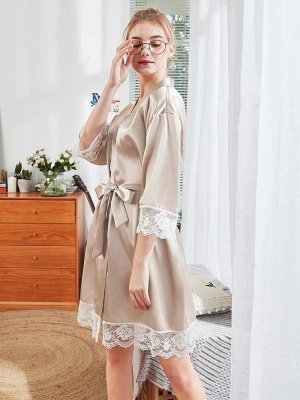 Sexy Imitation Silk Belt Bathrobe Nightgown_3